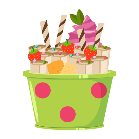Thailand ice cream roll with waffle, cookie, mint, strawberry and lolly candy. Vector cartoon flat icon or logo isolated on a white background.