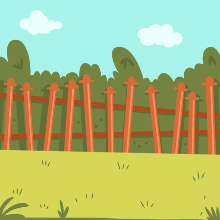 Backyard with wooden fence, green grass and bushes. Vector cartoon illustration. Ilustração