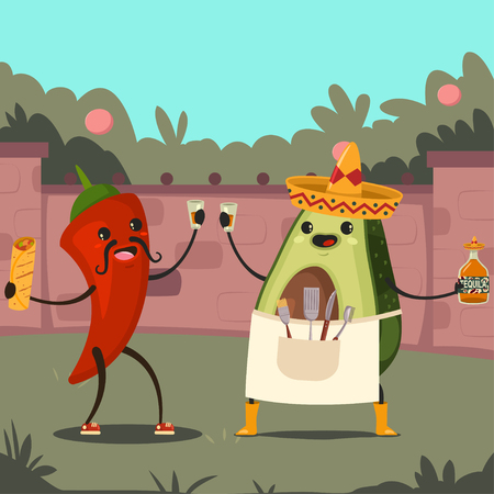 Funny Avocado and Chile on a Mexican party in the backyard. Cute vector cartoon character of vegetable and fruit in a sombrero with tequila, burrito and barbecue tools.