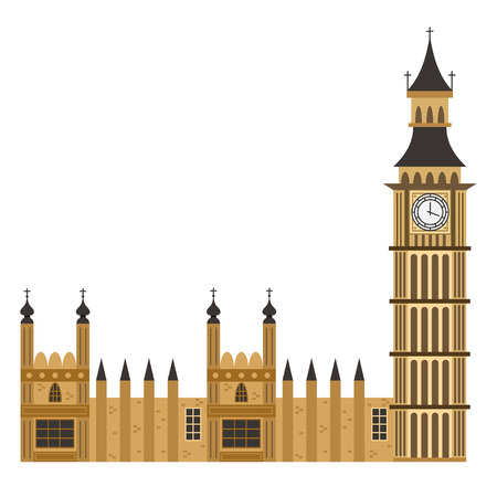 Big Ben clock tower. Vector flat icon of London building isolated on white background.