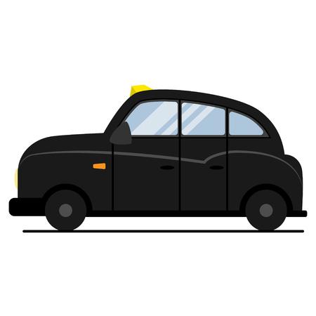 Black London taxi. Vector flat cab icon isolated on a white background.