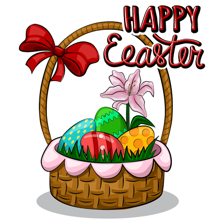 Happy easter greeting card with a basket and red bow, colored eggs in it and a lily flower. Template design for the holiday. Vector cartoon hand drawn illustration.