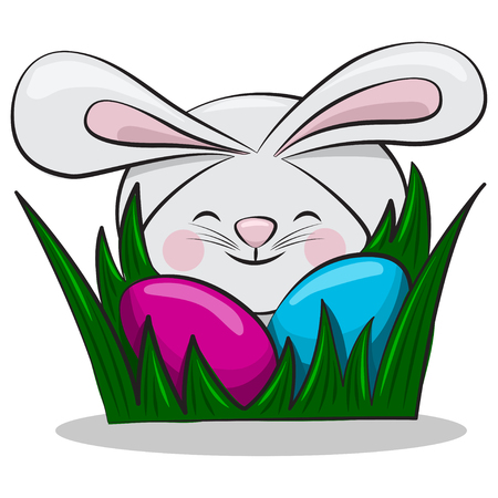 Cute Easter bunny and colored eggs in green grass. Vector cartoon character of a rabbit for a holiday. Illustration, isolated on white background. Illustration