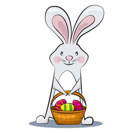 Cute Easter bunny is holding egg basket with patterns. Vector cartoon rabbit character for a holiday. Illustration isolated on a white background.