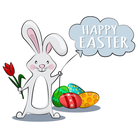Cute rabbit with red tulip, holds balloon in the shape of cloud with text Happy Easter and eggs with patterns on the ground. Vector cartoon character of rabbit for holiday. Vector.
