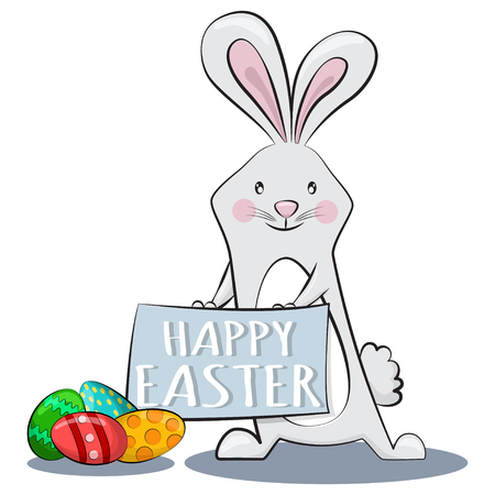 Cute rabbit holds a sign with the text Happy Easter and colorful eggs with patterns. Vector cartoon character of a rabbit for a holiday. Illustration, isolated on white background.