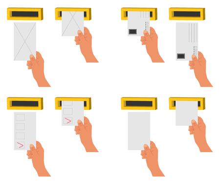 Envoyez une lettre et des blancs à la main dans une boîte aux lettres. Vector cartoon plat icons set isolé sur fond blanc.