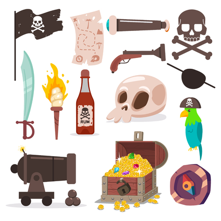 Pirate element set. Skull and crossbone, parrot, sword, old map, black flag, cannon, torch, chest with treassure, compass and gun vector cartoon icons isolated on a white background.