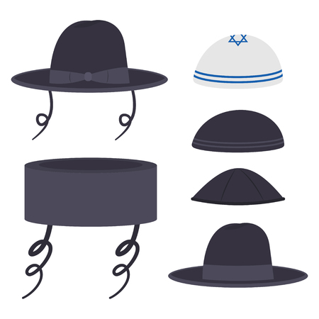 Jewish traditional hats vector cartoon set isolated on white background.