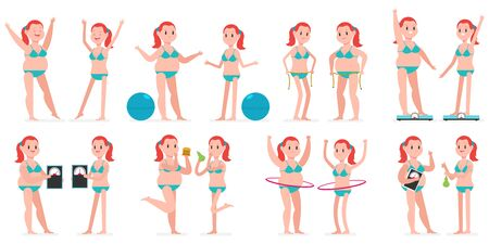 Fat and thin girl with hule hoop, fitness ball, measuring tape, on weight scales. Vector cartoon woman character set isolated on a white background. Healthy lifestyles and sport concept illustration.