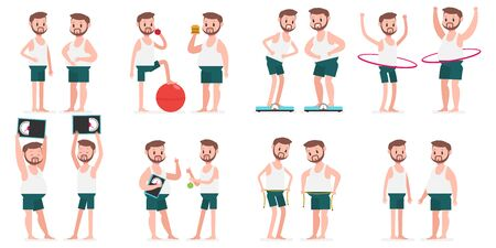 Fat and thin guy with hule hoop, fitness ball, measuring tape, on weight scales. Vector cartoon man character set isolated on a white background. Healthy lifestyles and sport concept illustration. Ilustração