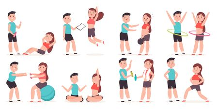 Personal trainer with a young girl doing fitness exercises. Vector cartoon couple man and woman character set isolated on white background. Healthy lifestyle and sport illustration.