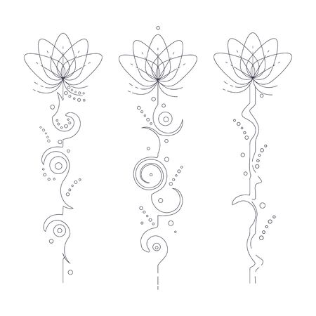 Unalome lotus flower vector line art tattoo set isolated on a white background. Ilustração