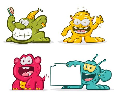 Cute trolls set. Vector cartoon funny monsters character isolated on white background.