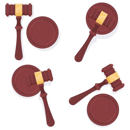 Judge gavel vector cartoon set isolated on white background.