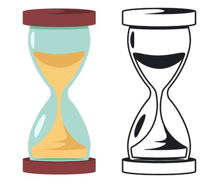 Sand hourglass vector cartoon illustration isolated on white background. Ilustração