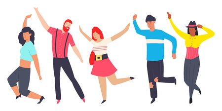 Dancing people in different poses. Men and women vector flat cartoon modern character isolated on white background. Ilustração