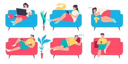 People on the couch. Man, woman and cat character in different poses on the sofa. Vector cartoon flat set isolated on a white background. Illustration