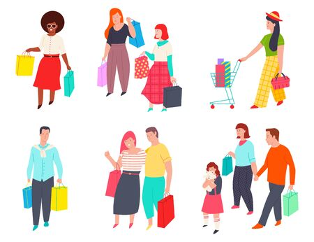 People with shopping bags and trolley. Man, woman and family make purchases. Shopper vector cartoon character set isolated on a white background. Ilustração