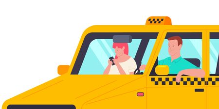 Taxi driver with a passenger in the car. Vector cartoon illustration with man and girl with phone isolated on white background.