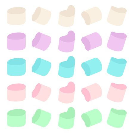 Marshmallow vector cartoon flat set isolated on a white background.