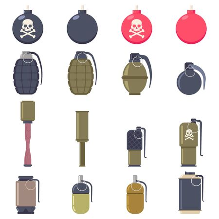 Grenades and bombs vector cartoon flat set isolated on a white background. Illustration