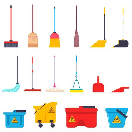 Broom, mop, dustpan and bucket vector cartoon flat set of cleaning house supplies isolated on a white background.
