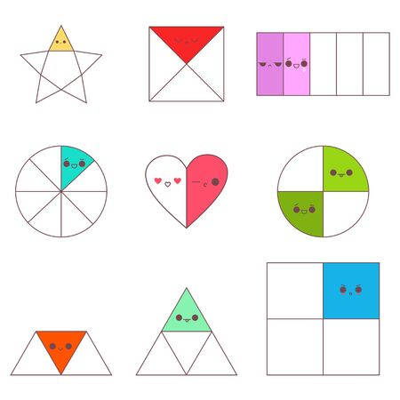 Circle, square, triangle, star and heart fractions with cute kawaii emotions. Vector cartoon set isolated on a white background. Ilustração