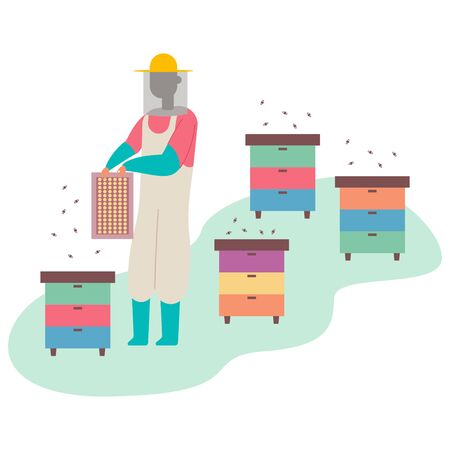 Beekeeper collects honey near the beehive. Vector cartoon flat man character on bee farm isolated on white background.
