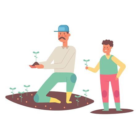 Father and son planting plants. Farmers vector cartoon flat characters isolated on white background. Illustration