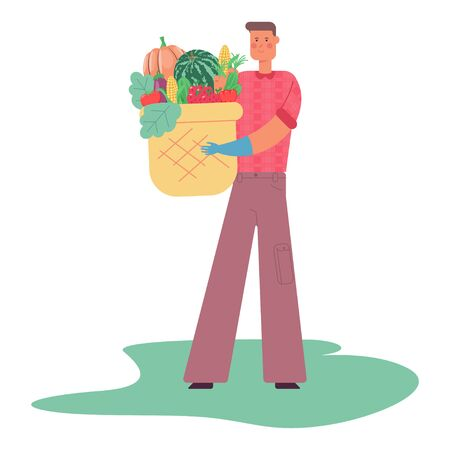 Farmer with a basket of vegetables and fruits. Man vector cartoon flat character isolated on white background.