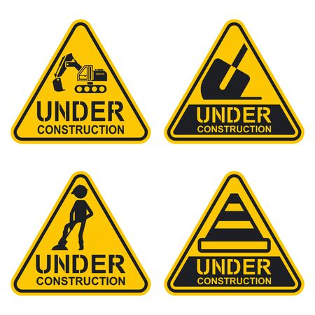 Under construction sign vector set. Warning icon collection isolated on a white background.