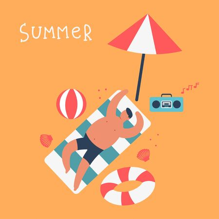 Man sunbathing on the beach with a lifebuoy, a ball and an umbrella. Summer vector cartoon illustration.