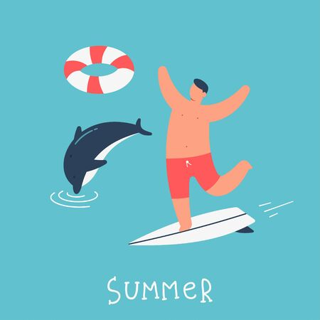 Man on a surfing board is swimming in the ocean with a dolphin. Summer people vector cartoon illustration.