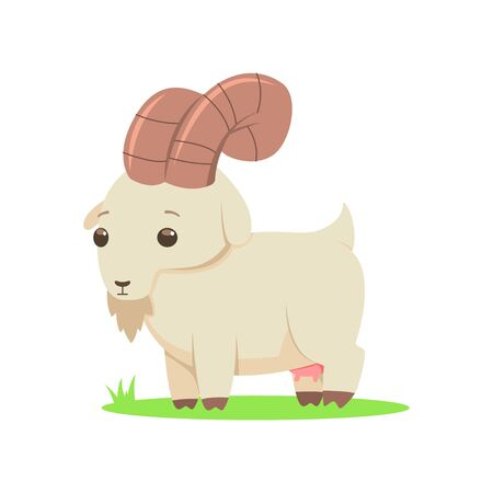 Cute goat vector cartoon flat character isolated on white background.