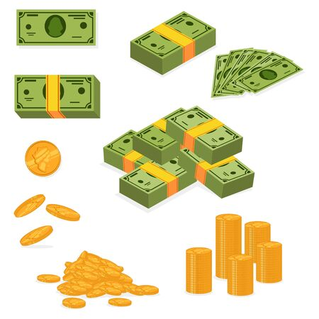 Stack of money and pile of cash. Dollar banknote and gold coins icons set. Vector cartoon flat illustration of paper and metallic currency isolated on white background. Ilustração