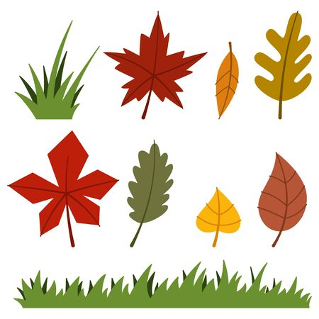 Autumn leaves and grass. Vector flat icons set for fall season isolated on white background.