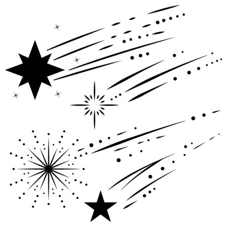 Shooting and falling stars, meteorites and comets vector black silhouette icons set isolated on white background.