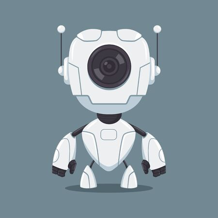 Cute white robot with lens vector flat cartoon character isolated on background.