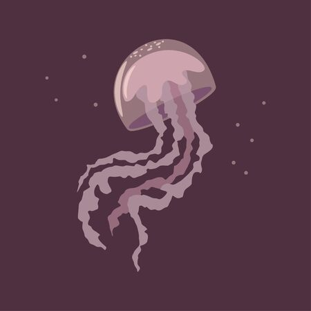 Jellyfish vector cartoon flat illustration isolated on background.