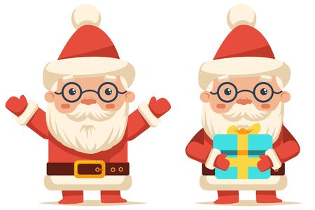 Happy Santa Claus with gift box. Vector cartoon Christmas character isolated on white background.