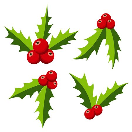 Christmas holly berry set. Mistletoe with leaves vector flat icon isolated on a white background. Ilustração