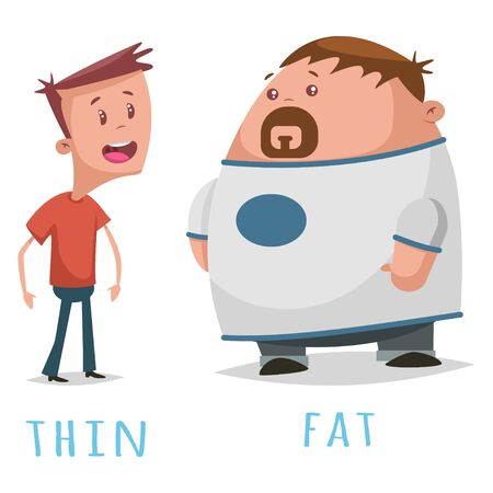 Opposite words adjective fat and thin. Vector cartoon illustration of two cute guys isolated on white background.