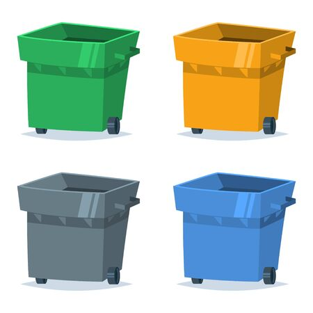 Garbage can set of blue, green, yellow and gray color. Vector illustration of the sorting and recycling of organic, plastic, paper and glass waste and trash.