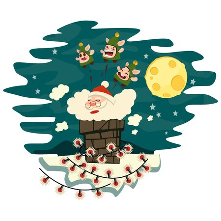 Santa Claus climbs down the chimney. Vector cartoon character isolated on a white background. Ilustração