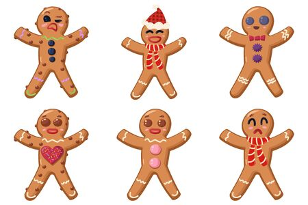 Holiday food. Gingerbread man cookies with different faces set. Vector cartoon illustration isolated on a white background.
