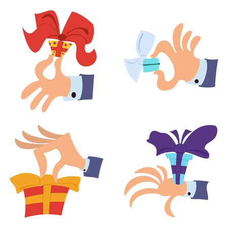 Hand gift giving box set. Vector cartoon illustration isolated on a white background. Flat cartoon icon.