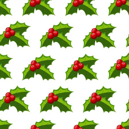 Christmas holly berries seamless pattern on a white background. Vector holiday wallpaper, texture, ornament etc.
