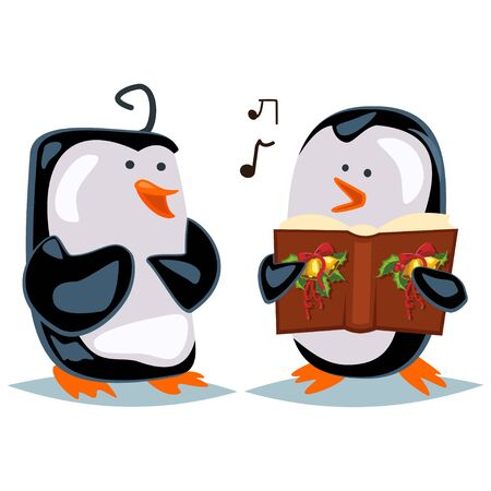 Cartoon penguin sings Christmas carols with his friend. Vector illustration of animals isolated on a white background.