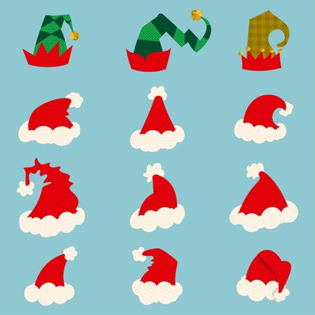 Santa and elf hat isolated on background. Vector cartoon icon set.